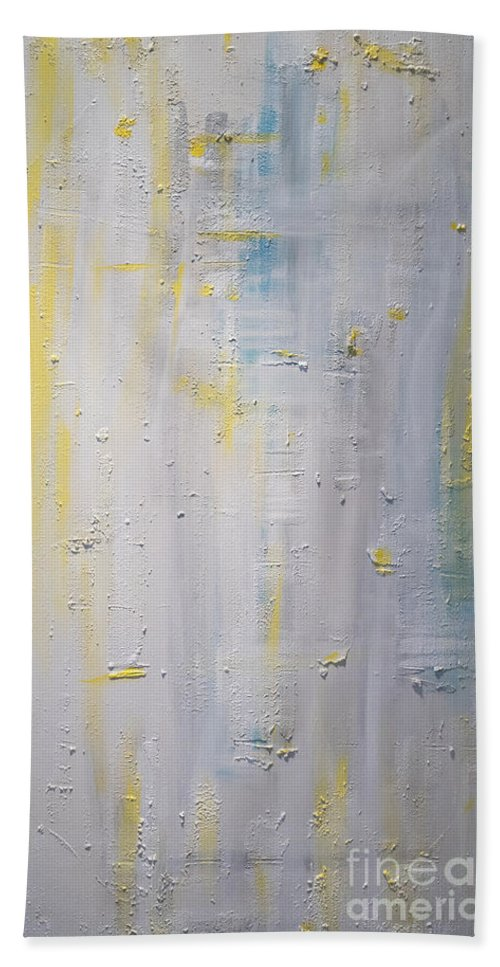 Abstract Bath Sheet featuring the painting Winter Dawn by Silvana Abel