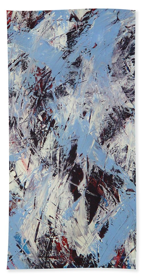 Abstract Hand Towel featuring the painting Winter by Dean Triolo