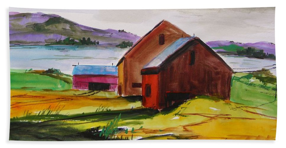 Winter Delaware Farm Hand Towel featuring the painting Winter Delaware Farm by John Williams
