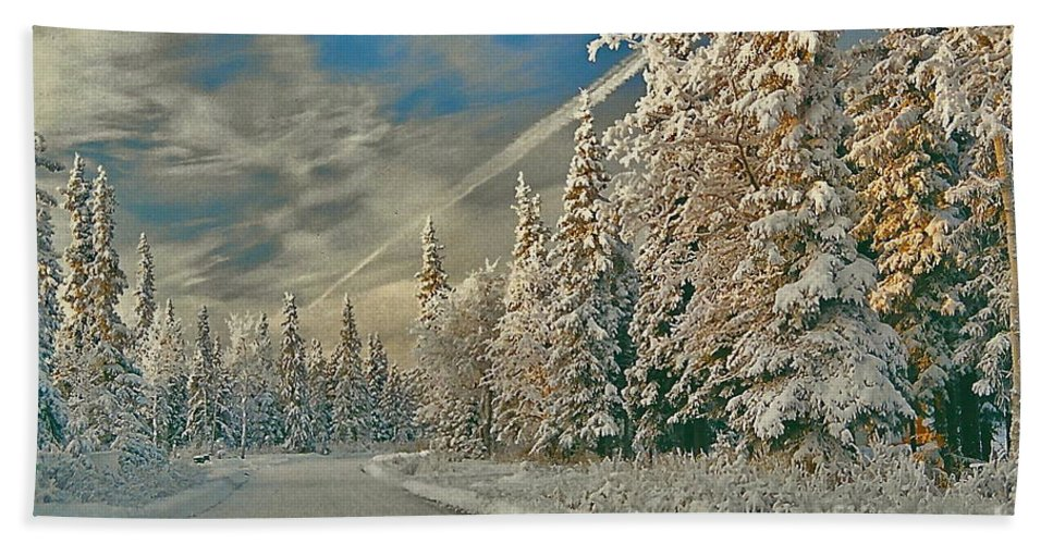 Winter Bath Towel featuring the photograph Winter Drive by Rick Monyahan