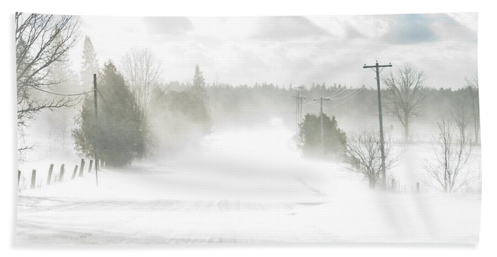 Landscapes Bath Sheet featuring the photograph Winter Driving by Cheryl Baxter