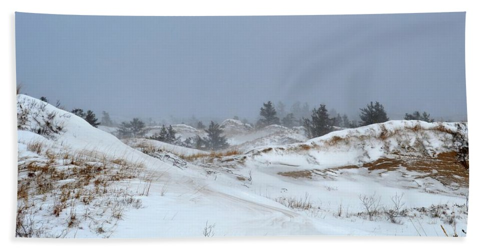 Ludington Bath Sheet featuring the photograph Winter Dunes by Linda Kerkau