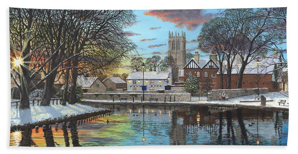 Tickhill Bath Towel featuring the painting Winter Evening Tickhill Yorkshire by Richard Harpum