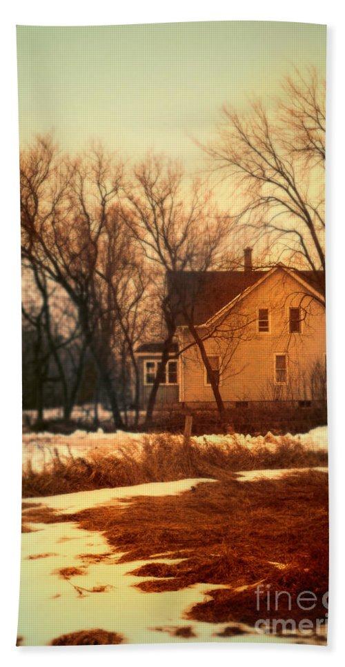 Rural Bath Sheet featuring the photograph Winter Farhouse by Jill Battaglia