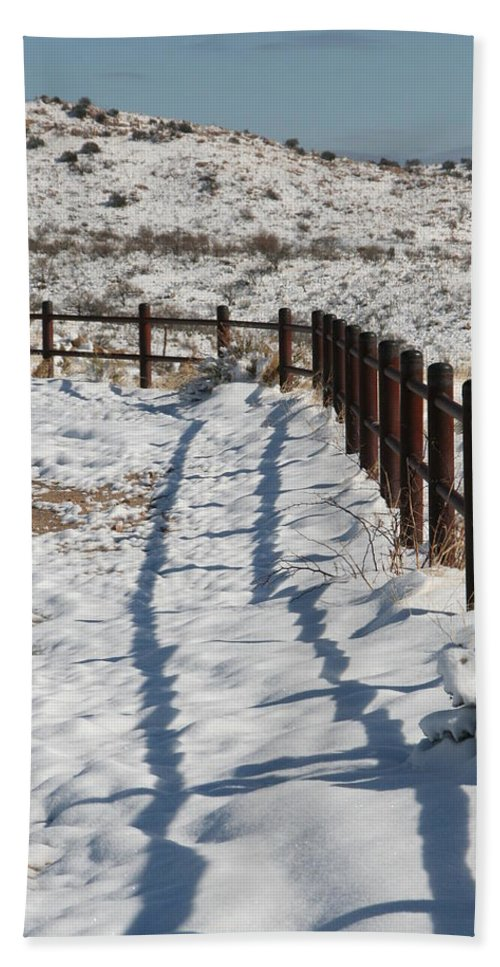 David S Reynolds Hand Towel featuring the photograph Winter Fence by David S Reynolds
