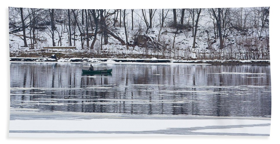Wisconsin River Hand Towel featuring the photograph Winter Fishing - Wisconsin River by Steven Ralser