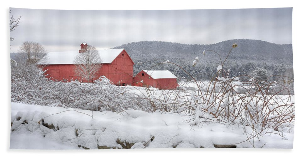 Old Red Barn Bath Sheet featuring the photograph Winter In Connecticut by Bill Wakeley