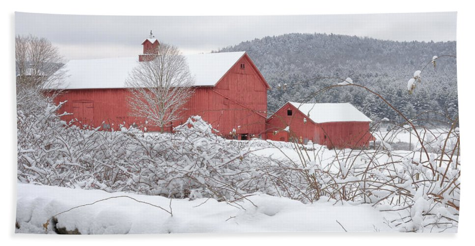 Old Red Barn Bath Sheet featuring the photograph Winter In Connecticut Square by Bill Wakeley
