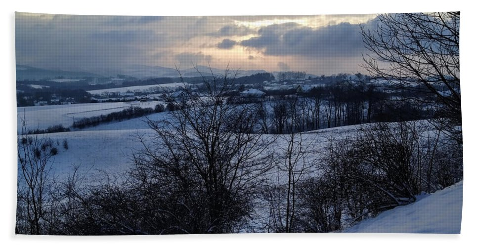 Winter Landscape Hand Towel featuring the photograph Winter Landscape by Mariola Bitner