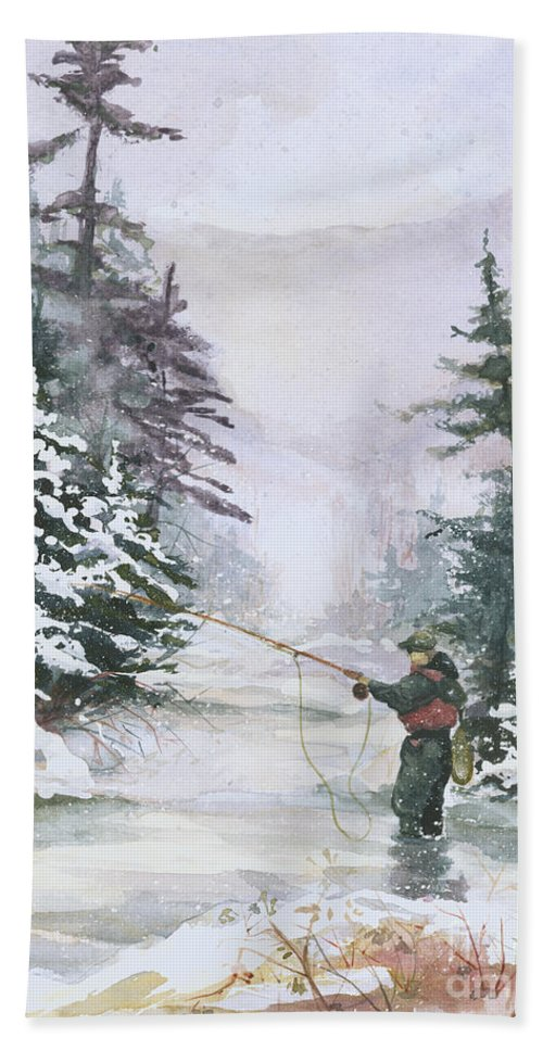 Magic Hand Towel featuring the painting Winter Magic by Elisabeta Hermann