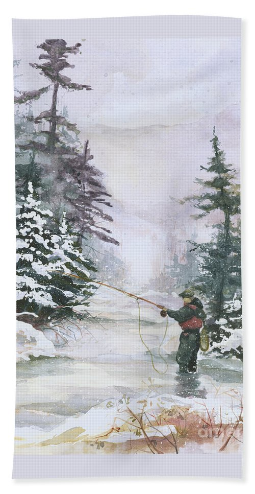 Magic Bath Towel featuring the painting Winter Magic by Elisabeta Hermann