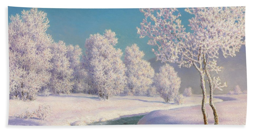 Winter Hand Towel featuring the painting Winter Morning In Engadine by Ivan Fedorovich Choultse