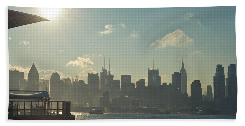 Architecture Bath Sheet featuring the photograph Winter Morning On The Hudson by Zina Zinchik