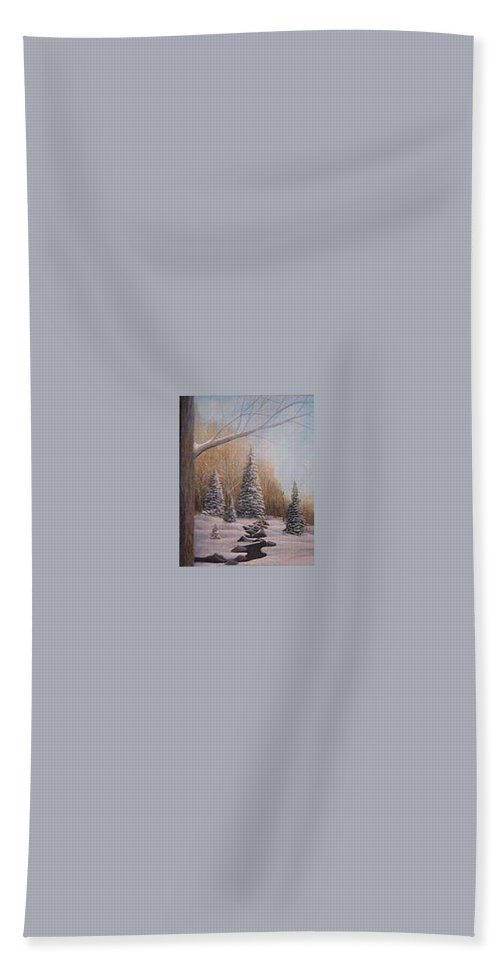 Rick Huotari Hand Towel featuring the painting Winter Morning by Rick Huotari