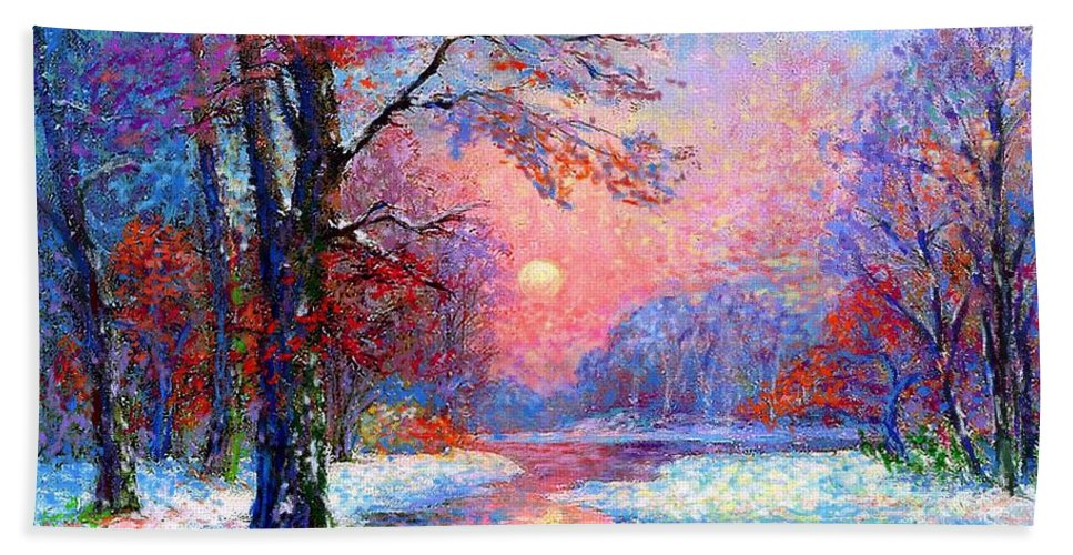 Woodland Bath Towel featuring the painting Winter Nightfall, Snow Scene by Jane Small