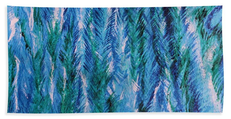 Acrylic Hand Towel featuring the painting Winter Of My Son by Gina Bonelli