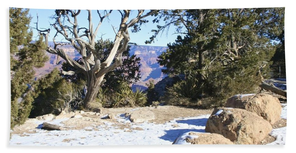 Snow Hand Towel featuring the photograph Winter On The South Rim by Christy Gendalia