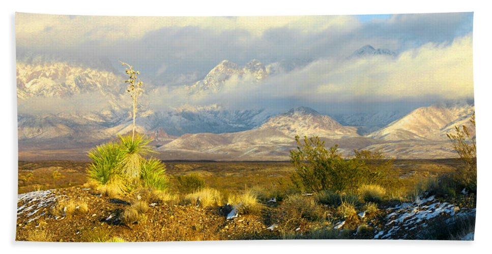 The Winter Sun Sets In Front Of The Organ Mountains-desert Peaks National Monument Bath Sheet featuring the photograph Winter In The Organ Mountains by Jack Pumphrey