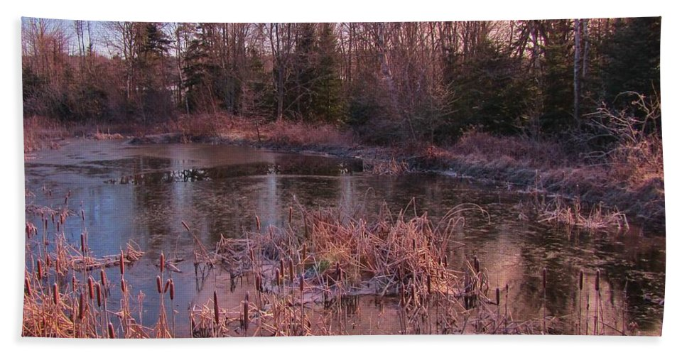 Winter Pond Landscape Bath Sheet featuring the photograph Winter Pond Landscape by John Malone