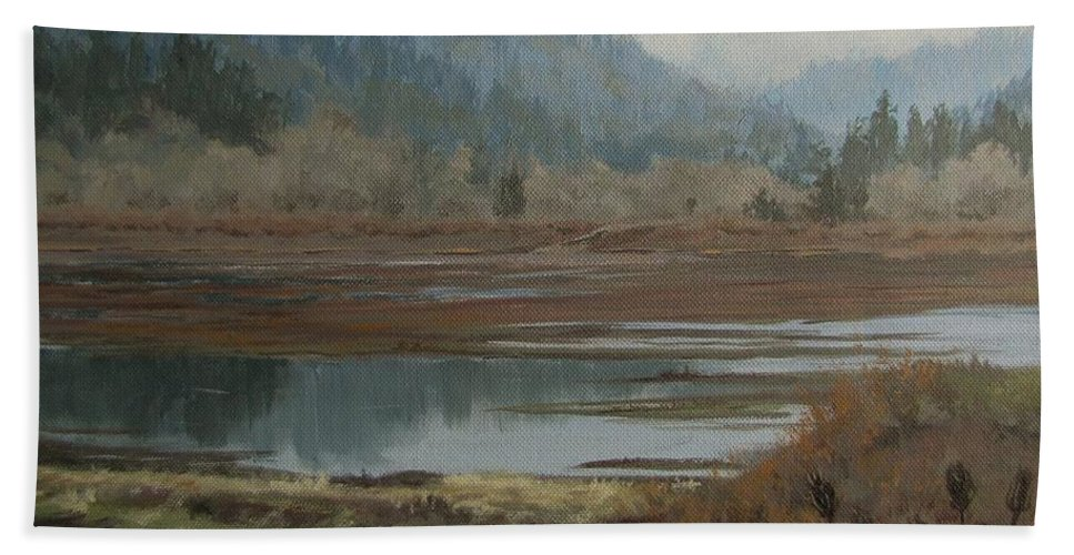 Pond Hand Towel featuring the painting Winter Pond by Karen Ilari
