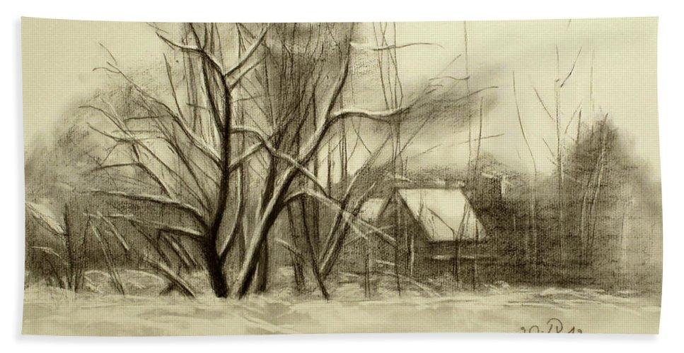 Landscape Bath Towel featuring the drawing Winter by Raimonda Jatkeviciute-Kasparaviciene