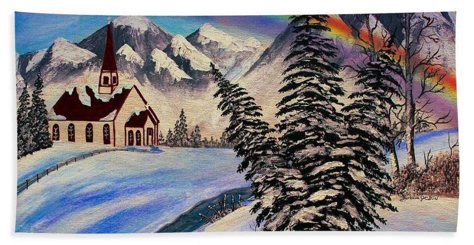 Church Hand Towel featuring the painting Winter Rainbow by Barbara Griffin