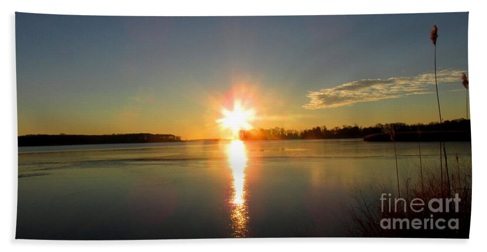 Winter River Sunrise Chesapeake Bay Sunrise Morning Bayscape Waterscapes Riverscapes Dundee Creek Sunrise December Dawn Natural Landscapes Naturescapes Winterscapes Winter Wetland Marshy Point Sunrise Hand Towel featuring the photograph Winter River Sunrise by Joshua Bales