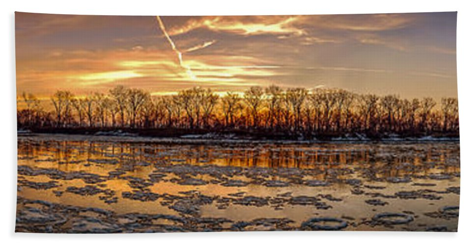 Landscape Bath Sheet featuring the photograph Winter River Sunrise by Mark McDaniel