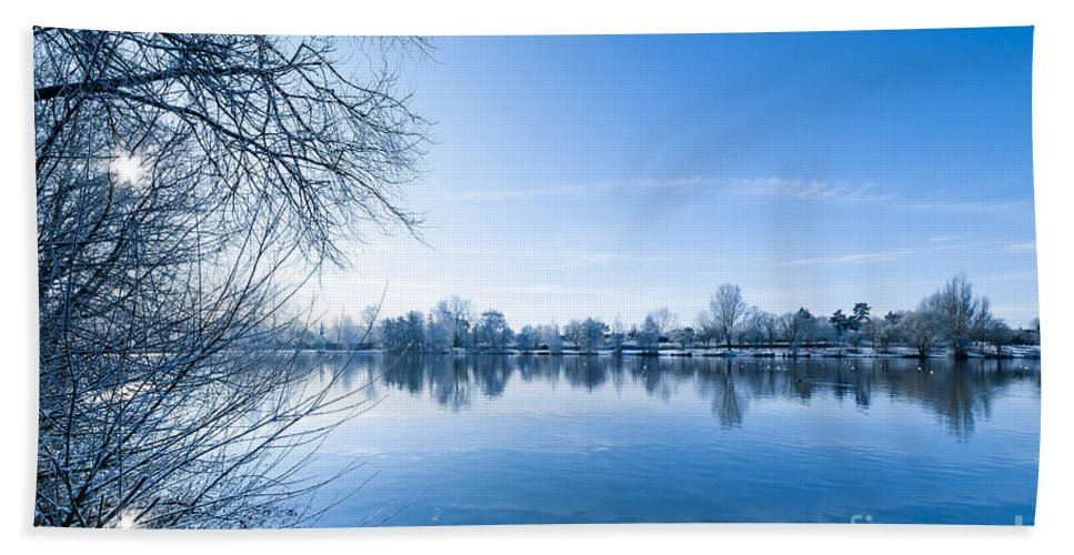 Birds Hand Towel featuring the photograph Winter River by Svetlana Sewell