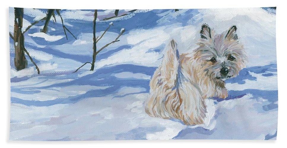 Cairn Terrier Bath Sheet featuring the painting Winter Romp by Molly Poole