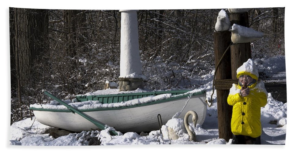 Snow Hand Towel featuring the photograph Winter Scene Michigan #1 by Paul Cannon