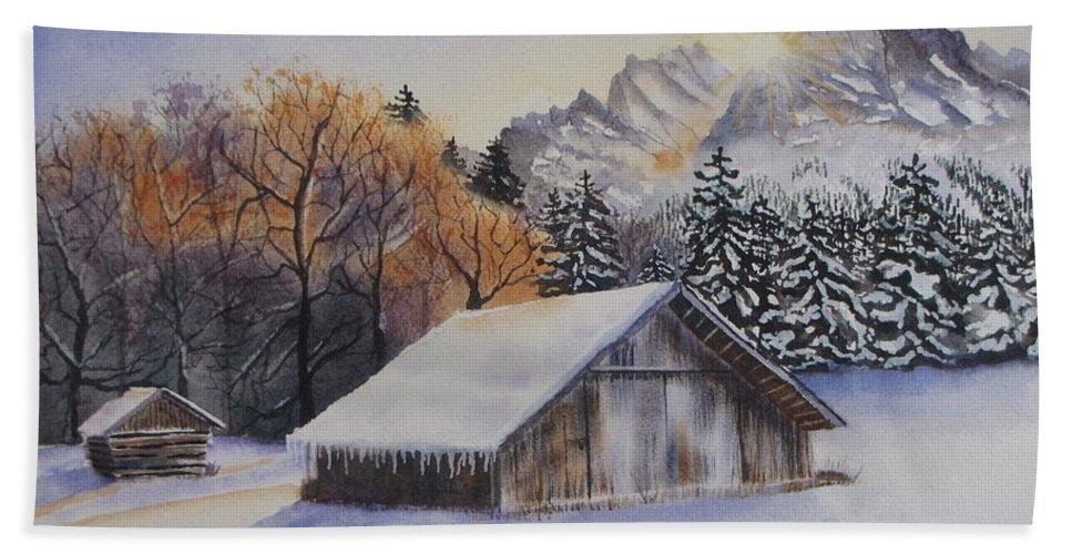 Barn Hand Towel featuring the painting Winter Serenity by Tammy Crawford