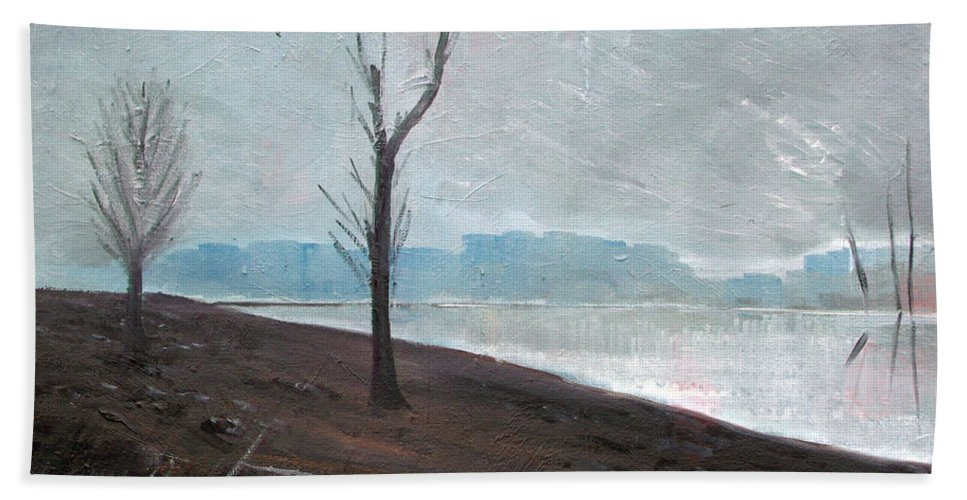 Landscape Bath Sheet featuring the painting Winter by Sergey Bezhinets