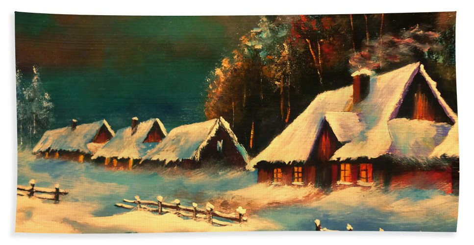 Winter Silence Bath Sheet featuring the painting Winter Silence by Ryszard Sleczka