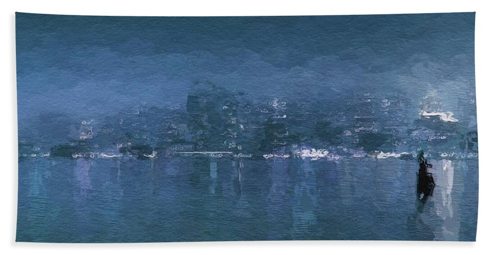 Urban City Manhattan Skyline New York Winter Abstract Frosty Cold Sky Blue Expressionism Impressionism Painting Hand Towel featuring the painting Winter Skyline by Steve K
