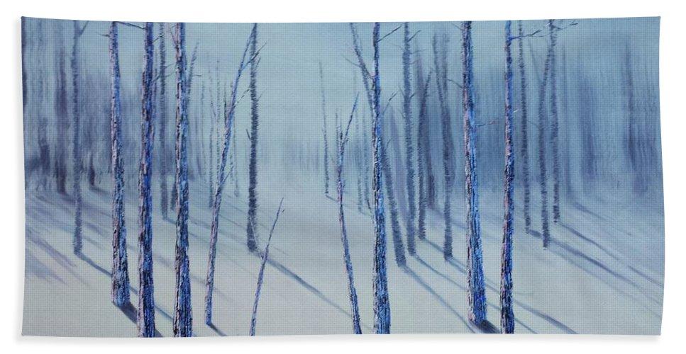 Xochi Hughes Madera Hand Towel featuring the painting Winter Splendor by Xochi Hughes Madera