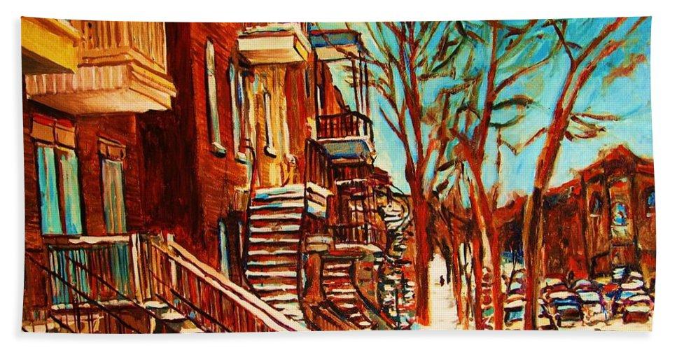 Verdun Paintings By Montreal Street Scene Artist Carole Spandau Bath Towel featuring the painting Winter Staircase by Carole Spandau