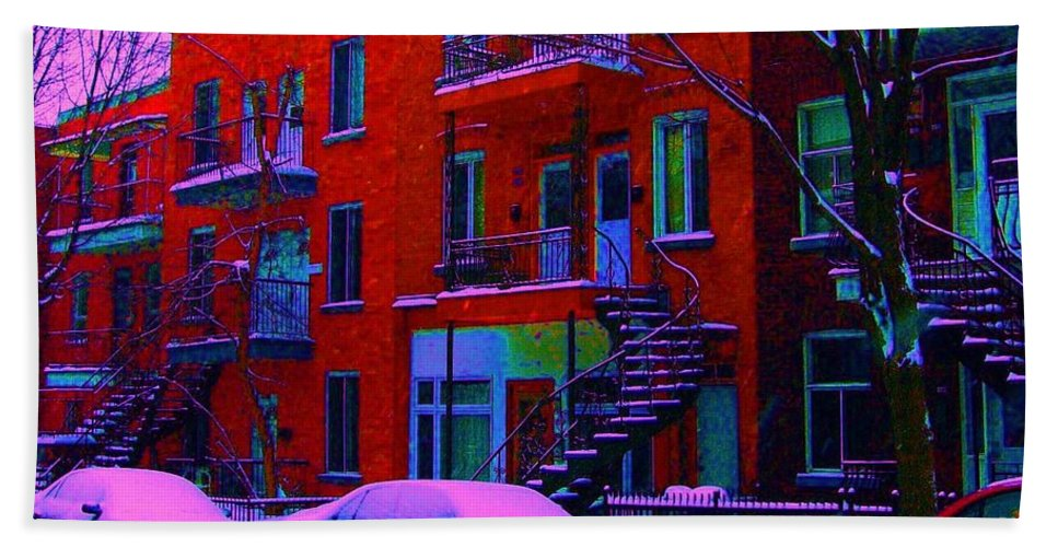 Montreal Bath Sheet featuring the photograph Winter Staircases Two by Carole Spandau