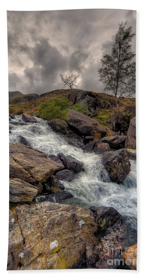 Capel Curig Hand Towel featuring the photograph Winter Stream by Adrian Evans