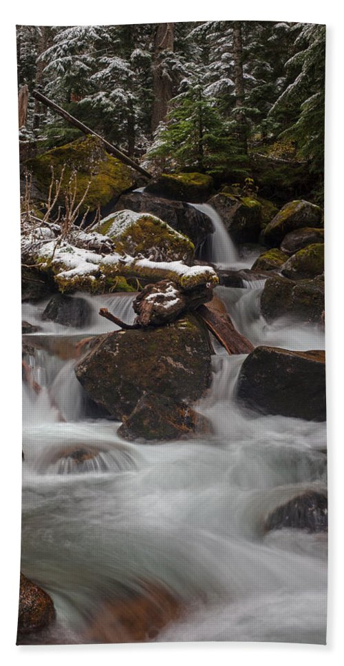 Stream Hand Towel featuring the photograph Winter Stream Tranquility by Mike Reid