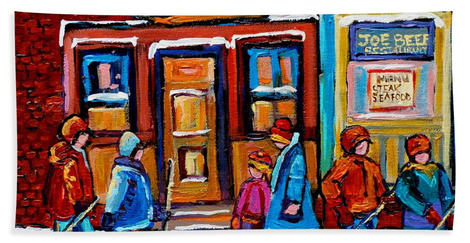 Montreal Bath Sheet featuring the painting Winter Street In Saint Henri by Carole Spandau