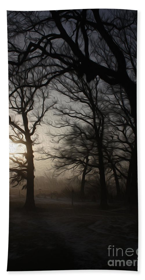 Oak Trees Bath Sheet featuring the photograph Winter Sunrise by David Bearden