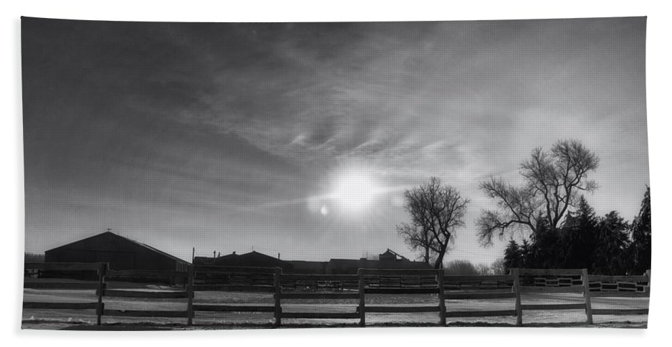 Sunrise Bath Towel featuring the photograph Winter Sunrise On The Farm 02 Bw by Thomas Woolworth