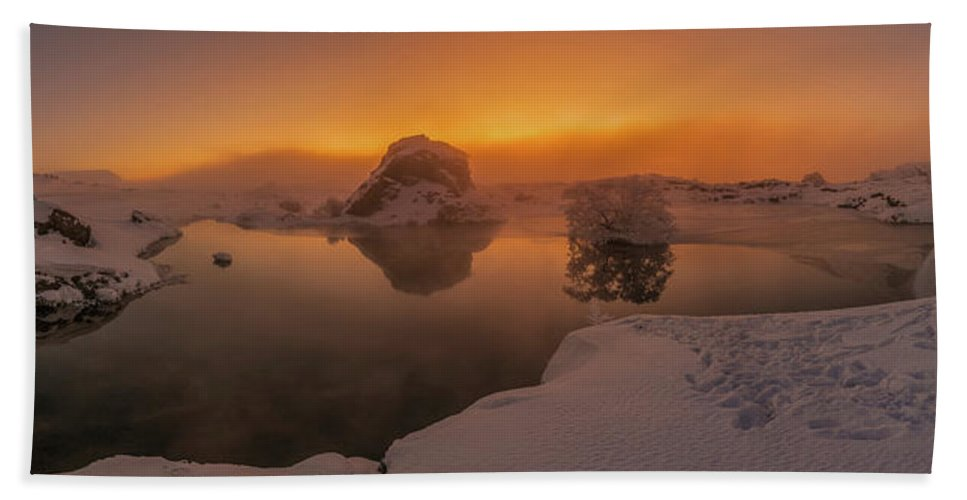 Photography Bath Sheet featuring the photograph Winter Sunset And Fog Over Lake Myvatn by Panoramic Images