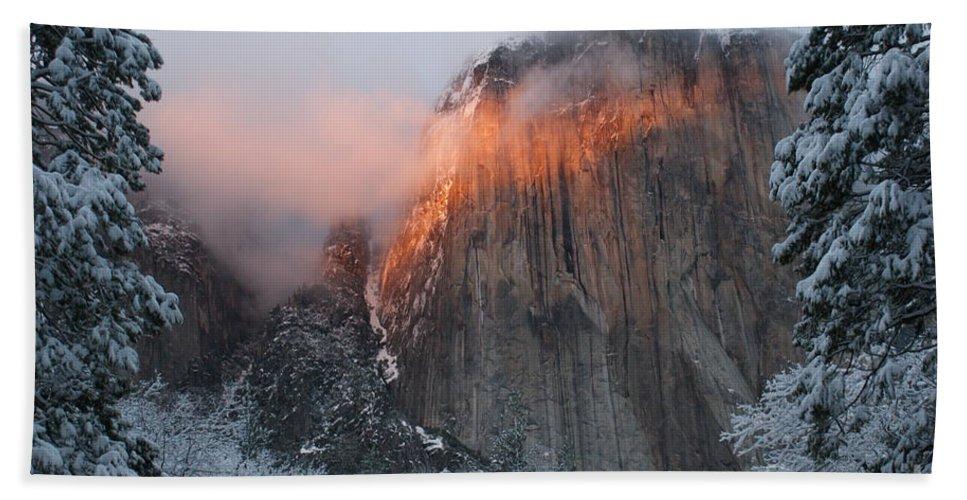 Yosemite Bath Sheet featuring the photograph Winter Sunset On El Capitan by Christine Jepsen
