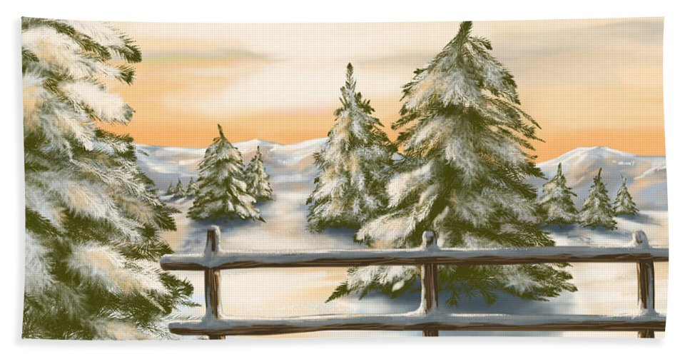 Winter Hand Towel featuring the painting Winter Sunset by Veronica Minozzi