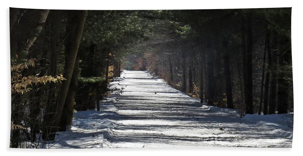 Trail Hand Towel featuring the photograph Winter Trail by MTBobbins Photography