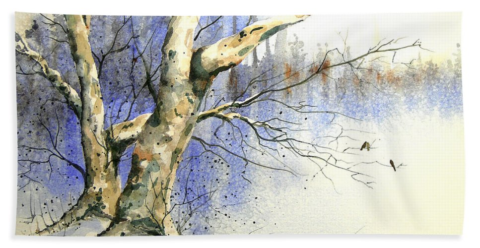 Tree Bath Sheet featuring the painting Winter Tree With Birds by Sam Sidders