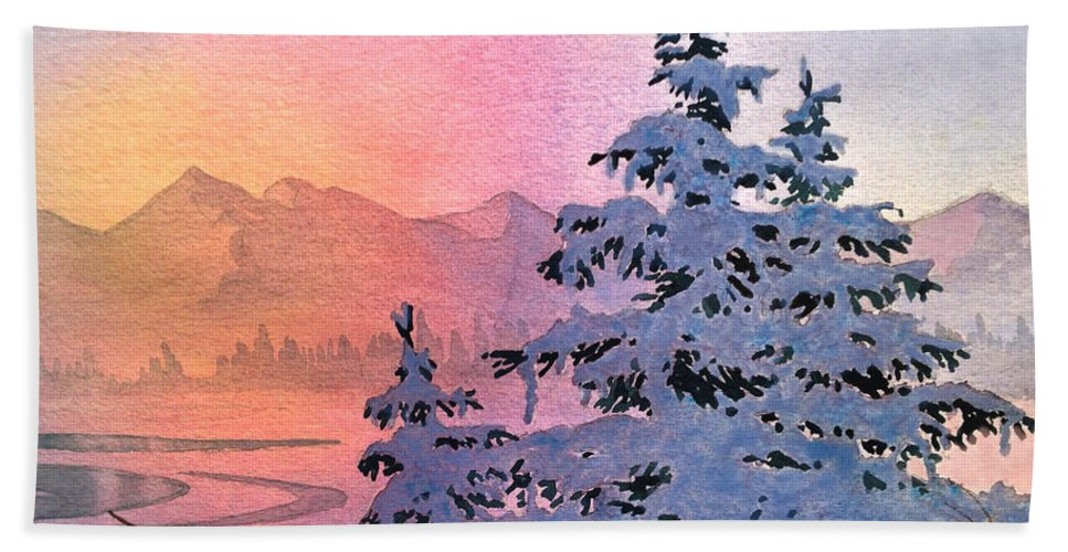 Winter Twilight Hand Towel featuring the painting Winter Twilight by Teresa Ascone