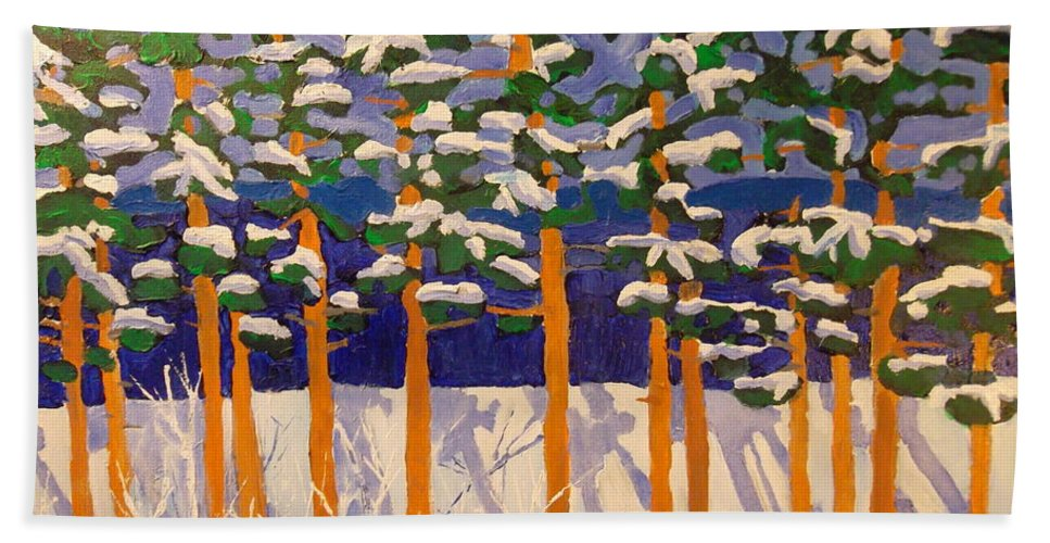 Winter Hand Towel featuring the painting Winter Valley by Rodger Ellingson
